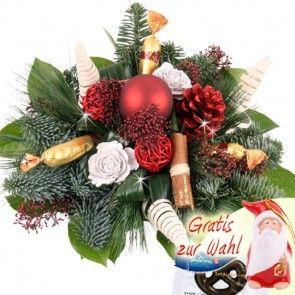 Weihnachtsblumenstrauß mit Marzipan und Elch oder Glasvase online schnell und sicher verschicken beim Testsieger.