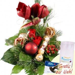 Weihnachtsstrauß / Adventsstrauß Amaryllis zum Nikolaus / zu Weihnachten mit Schokolade - schnell und günstig versenden.