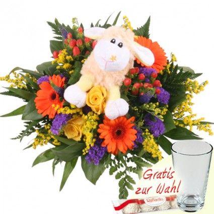 Kuschel Schaf Blumenstrauß - mit Gerbera und Rosen online verschicken mit Blumenfee