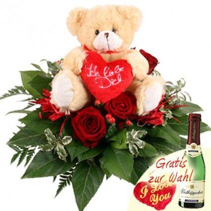 Blumen mit Teddybär und Rosen - Blumenfee Kuschel-Flower - online versenden