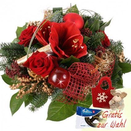 Adventstrauß mit Amaryllis und Elch-Figur gut und günstig online verschicken mit Blumenfee