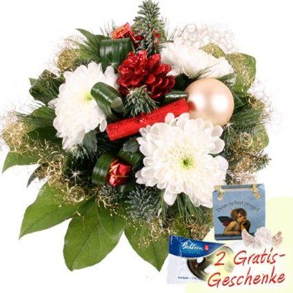 Blumenstrauß zu Weihnachten mit zwei Geschenken schnell und günstig versenden mit Blumenfee