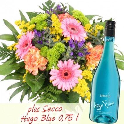 Sommer Strauß Sommer-Wellness mit Gratis Secco Hugo Blue 0,75 l online verschicken
