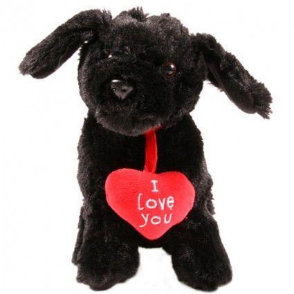 Plüschhund Monthy mit Herz Ergänzung zu Ihrem Blumenstrauß - online bestellen auf blumenfee.de