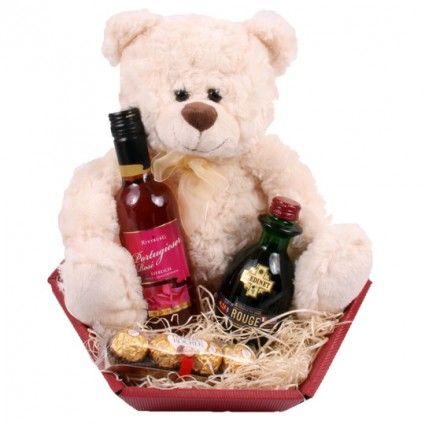 Präsentkorb mit Teddybär als Ergänzung zu Ihrem Blumenstrauß - online verschicken