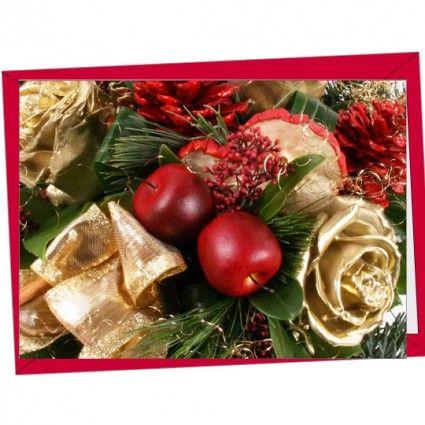 Hochwertige Weihnachtskarte mit rotem Briefumschlag als Ergänzung für Ihren Blumenstrauß online bestellen im Blumenversand Blumenfee www.blumenfee.de