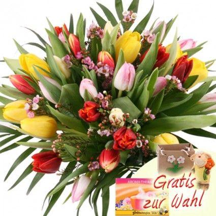 Tulpenstrauss - 30 Bunte Tulpen online frisch und sicher versenden mit Blumenfee