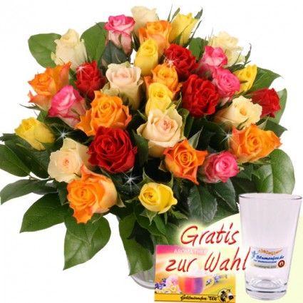 30 Rosen im Farbmix mit Vase online bestellen und sicher versenden