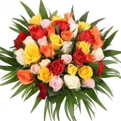 40 Rosen im Farb-Mix online bestellen mit 3 Gratiszugaben Ihrer Wahl – Blumen online verschicken auf www.blumenfee.de