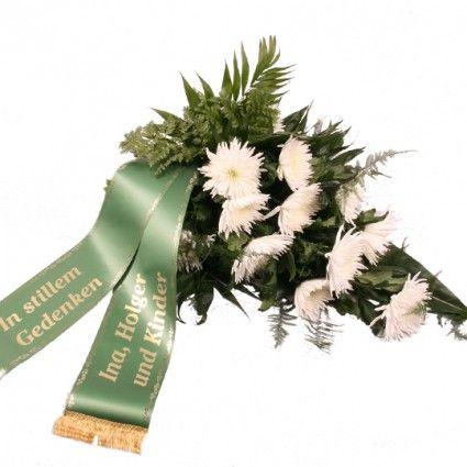 Liegestrauß Stille Trauer mit Trauerschleife Ansicht 1