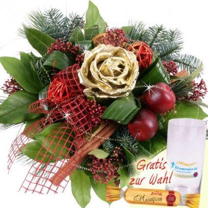 Adventsstrauss mit Wachsrose und Marzipan online verschicken mit Blumenfee