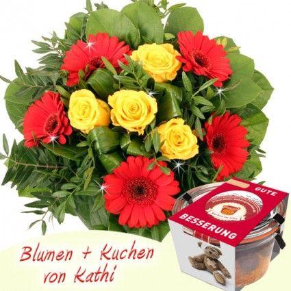 Gute Besserung Blumen und Kuchen online schnell und sicher versenden mit dem Testsieger Blumenfee