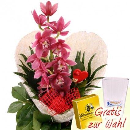 Blumenstrauss Orchideen-Herz mit Gratiszugabe Ihrer Wahl – Blumen online deutschlandweit bestellen mit www.blumenfee.de - dem Blumenversand