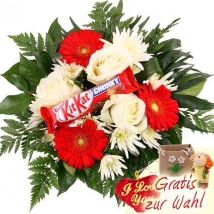 Süße Blumen - Schokoladen Blumen mit KitKat - online versenden im Blumenversand Blumenfee