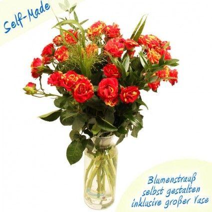 Blumenstrauß als Bund selbst zusammenstellen - Rosen im Bund plus Pampas Gras - online bestellen