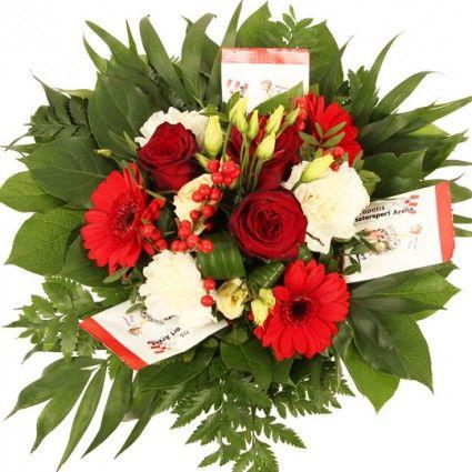 Renn Blumenstrauß Rot-Weiß mit rosen Rosen und Gummi Bären der Arena online bestellen und gut und günstig versenden