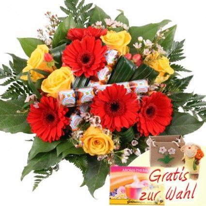 Blumen und Schokolade - Schoko-Flower Küsschen online verschicken - mit dem schnellen und günstigen Blumenversand Blumenfee