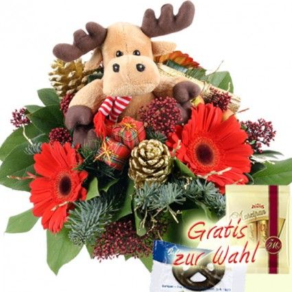 Blumenstrauß zu Weihnachten mit Elch - schnell und günstig bestellen und online versenden mit Blumenfee