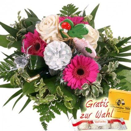 Silvester Blumenstrauß mit Wachsrosen und Gerbera online schnell und günstig versenden mit Blumenfee