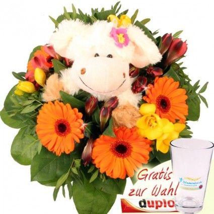 Blumenstrauß Knudel Schaf - Blumenstrauß mit Kuschel-Effekt - online bestellen und versenden mit Blumenfee