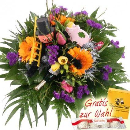 Neujahrs Blumenstrauß mit Glücksbringern und Gerbera online verschicken - gut und günstig mit Blumenfee