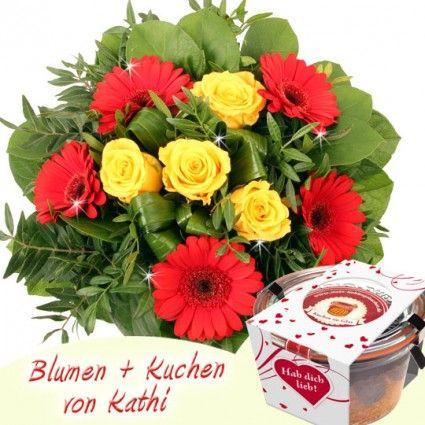 Blumen und Kuchen Geschenkidee - Blumenstrauß und Kuchen im Glas - online verschicken