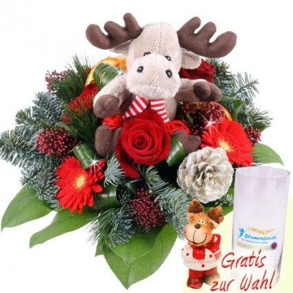 Weihnachtsblumen mit Gerbera und Plüsch-Elch online bestellen und schnell und günstig versenden mit Blumenfee.