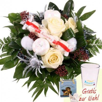 Blumenstrauß Winter online verschiken mit Schnee-Rosen und Schutzengel