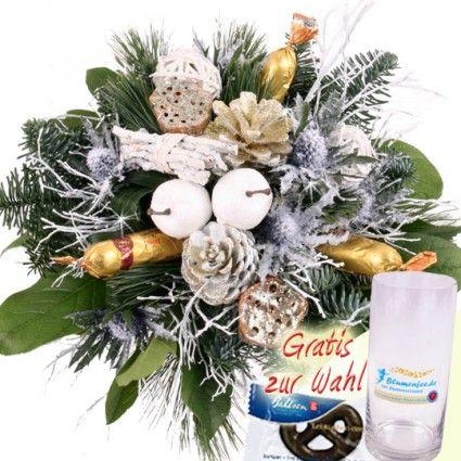 Blumenstrauß Winterlich mit Exoten und Marzipan versenden mit Blumenfee.