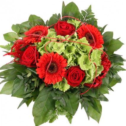 Blumenstrauß Rot-Grün Hortensien Special online versenden