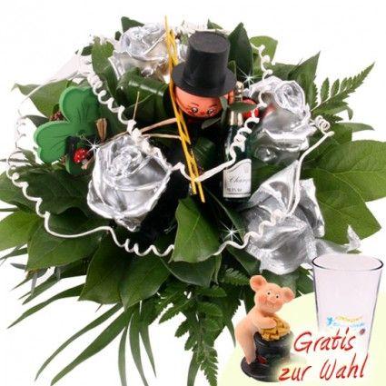 Silvester Blumenstrauß mit Wachsrosen in Silber online bestellen mit Blumenfee.de