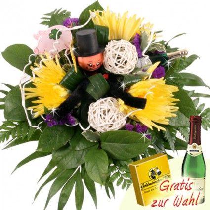 Sylvester Blumen mit Glücksbringer und Sekt - schnell und günstig versenden mit Blumenfee