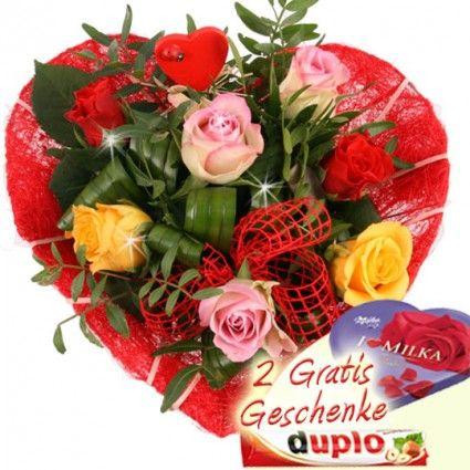 """Blumen zum Valentinstag - Valentinsstrauss """"Danke, dass es dich gibt"""" bei Blumenfee online bestellen"""