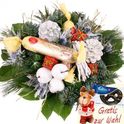 Blumenstrauß winterlich / weihnachtlich frostsicher mit Marzipan und Elch-Figur - verschicken mit dem Testsieger