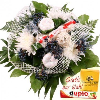 Winter Blumenstrauß mit Beerenzweigen und Glitzer-Äpfeln online bestellen und schnell und günstig verschicken mit Blumenfee.