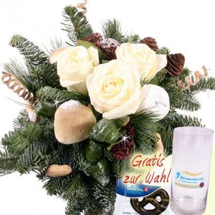 Blumen Wintergruß / Weihnachtsgruß - mit weißen Premium Rosen und Glasvase einfach und günstig online bestellen