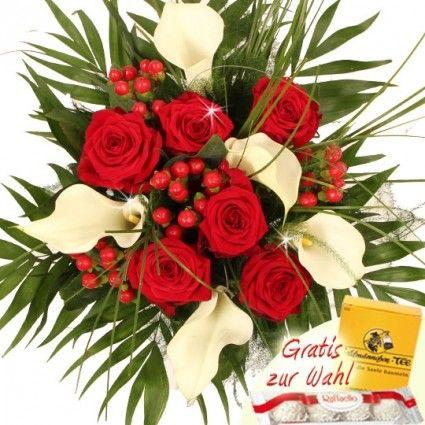 Blumenstrauß mit Calla und Rosen - Premium - plus gratis Secco Hugo