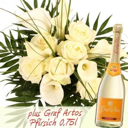 Premium Blumenstrauß mit Calla und Rosen in Weiß plus Secco 0,75l online versenden