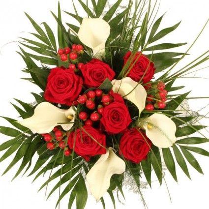 Blumenstrauß Premium mit Calla und Rosen online versenden mit Blumenfee - Der Blumenversand
