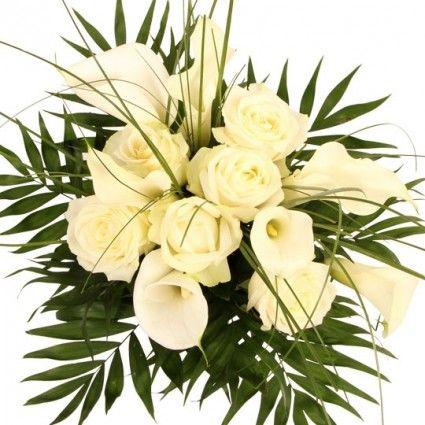 Calla Rosen Strauß Premium online versenden mit gratis Secco Hugo mit Blumenfee - Der Blumenversand