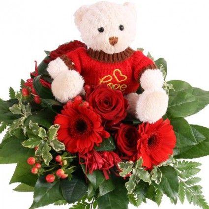 Blumenstrauß in Rot mit Kuschel-Teddy - Blumenfee Kuschel-Flower - gut und günstig online verschicken mit Blumenfee