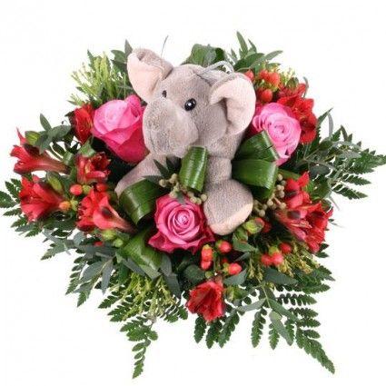 Blumenstrauß Kuschel-Flower Rudi der Elefant mit 3 Gratiszugaben Ihrer Wahl – Blumen online verschicken auf www.blumenfee.de