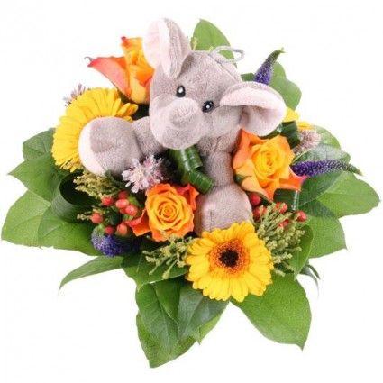 Blumenstrauß Kuschel-Flower Jumbo mit 3 Gratiszugaben Ihrer Wahl – Blumen online verschicken auf www.blumenfee.de
