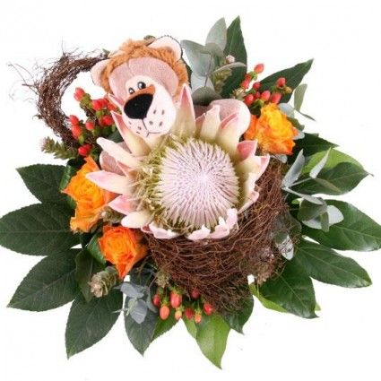 Blumenstrauß Kuschelflower King Leon mit 3 Gratiszugaben Ihrer Wahl – Blumen online verschicken auf www.blumenfee.de