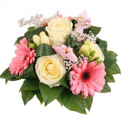 """Blumenstrauß zur Geburt """"Sweet Girl"""" mit 3 Gratiszugaben Ihrer Wahl – Blumen online im Blumenfee Blumenversand verschicken www.blumenfee.de"""