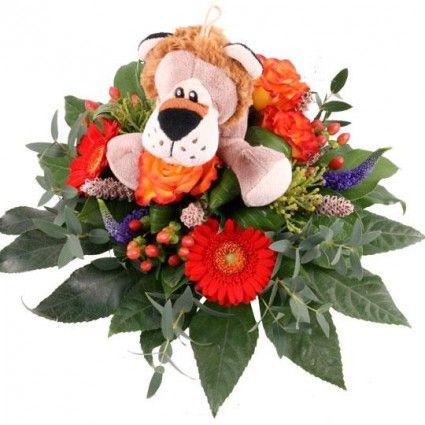 Blumenstrauß Kuschelflower Leon mit Kuscheltier Löwe und Zugabe Ihrer Wahl versenden.