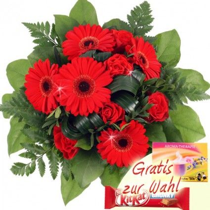 Roter Blumenstrauss mit Gerbera und Rosen online verschicken