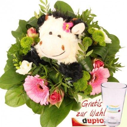 Kuschel-Flower - Blumenstrauß plus Kuscheltier - und Gratis-Vase online versenden mit Blumenfee.de