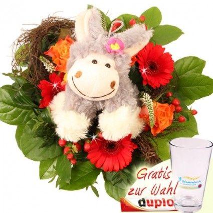 Blumenstrauß Blumenfee Kuschel-Flower mit Plüsch-Esel und Gratis-Vase online bestellen und gut und günstig versenden mit Blumenfee.
