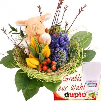 Oster Blumenstrauss mit Kuschel-Hase, Tulpen und Hyazinthen online verschicken mit Blumenfee